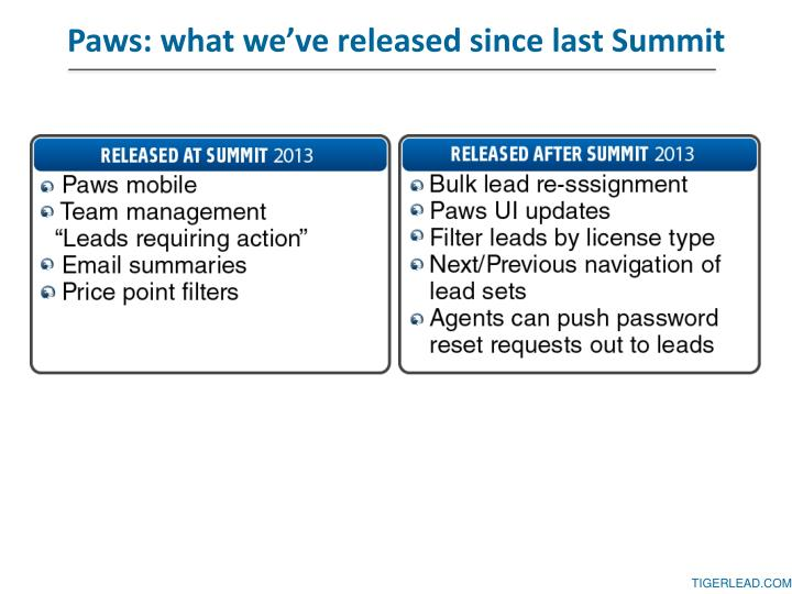 Paws what we ve released since last summit