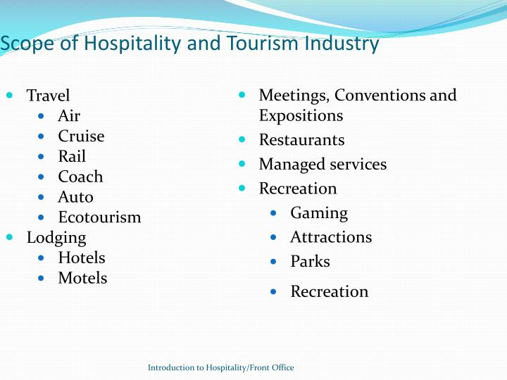 Scope of Hospitality and Tourism Industry