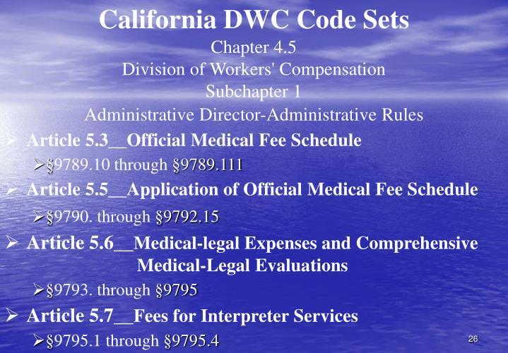 California DWC Code Sets