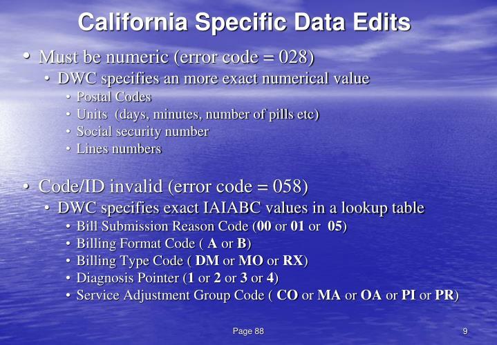 California Specific Data Edits