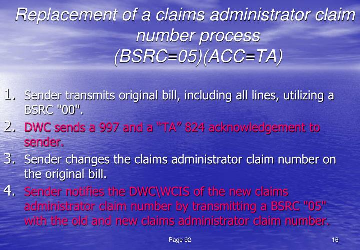 Replacement of a claims administrator claim number process