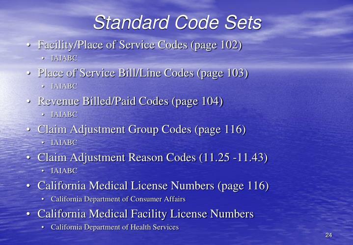 Standard Code Sets
