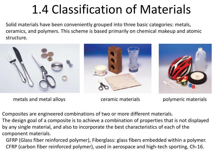 1.4 Classification of Materials