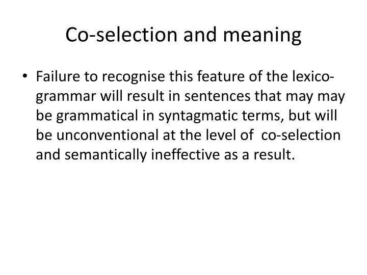 Co-selection and meaning