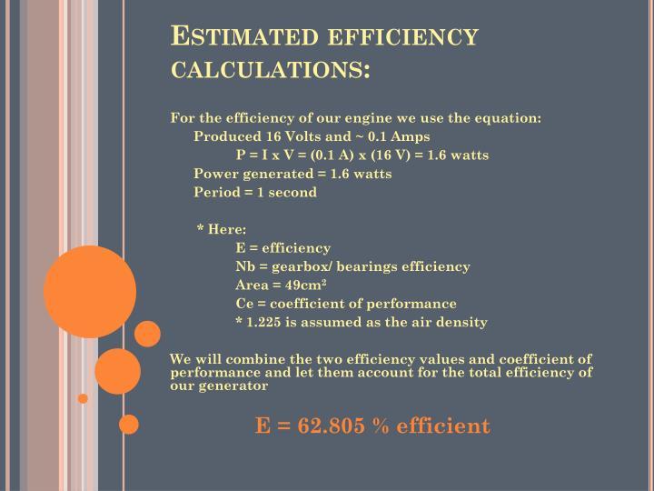 Estimated efficiency calculations: