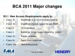 bca 2011 major changes