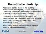 unjustifiable hardship
