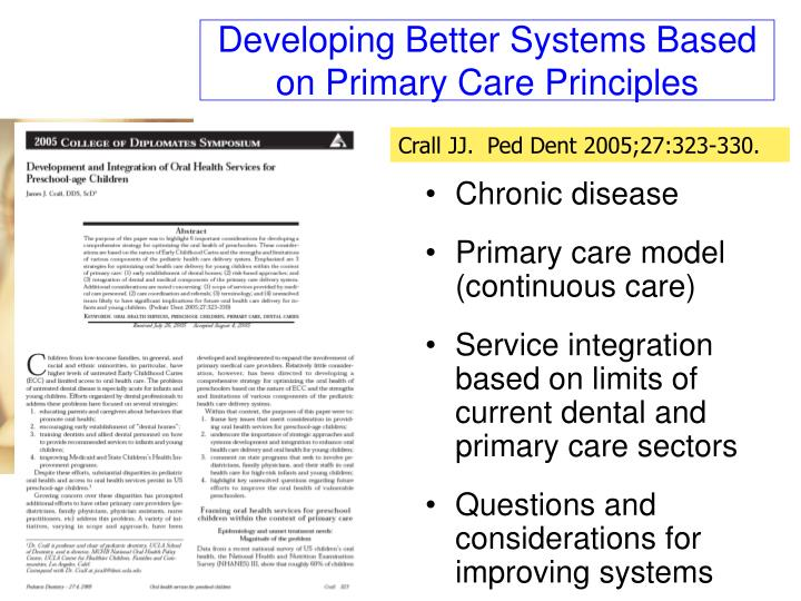 Developing Better Systems Based on Primary Care Principles