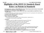 highlights of the ieee sa standards board bylaws on patents in standards