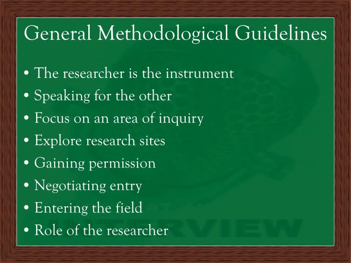 General Methodological Guidelines