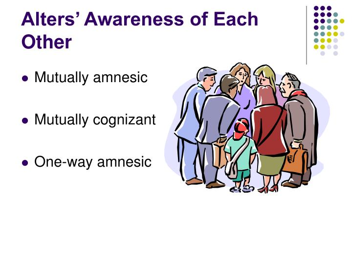 Alters' Awareness of Each Other