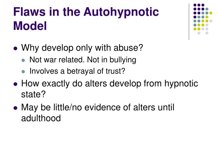 Flaws in the Autohypnotic Model