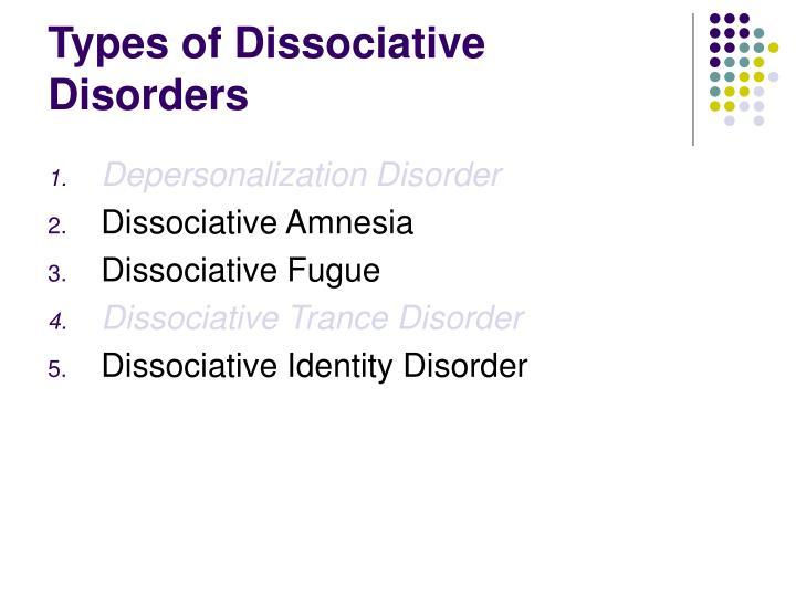 Types of Dissociative Disorders