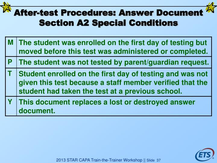 After-test Procedures: Answer Document