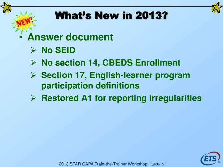What's New in 2013?