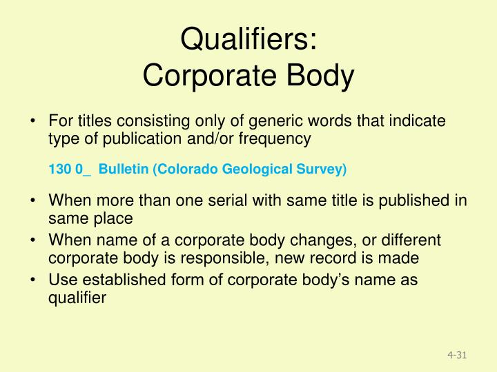 Qualifiers: