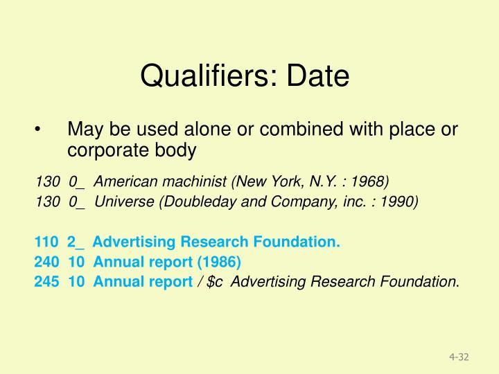 Qualifiers: Date