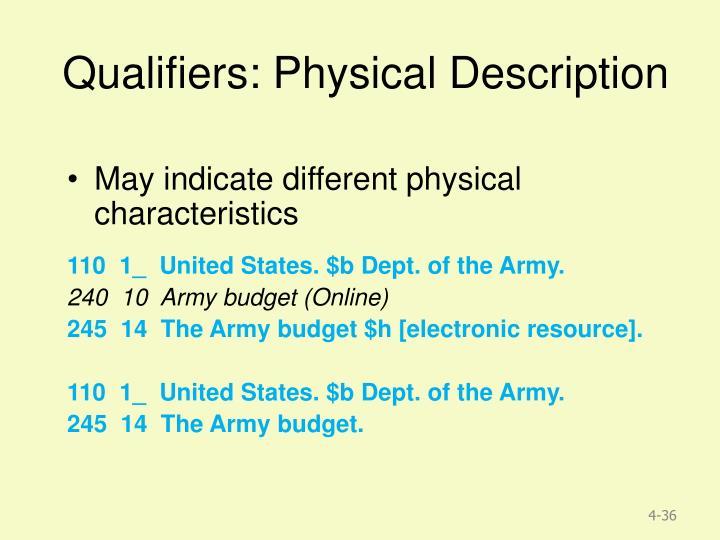 Qualifiers: Physical Description