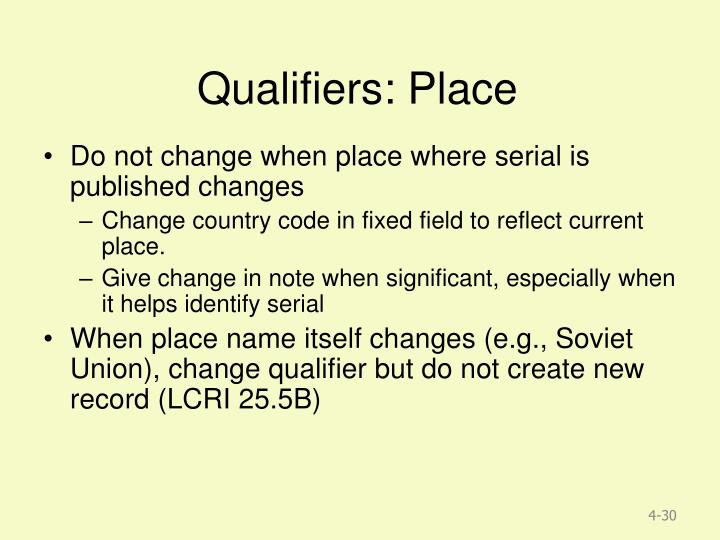 Qualifiers: Place