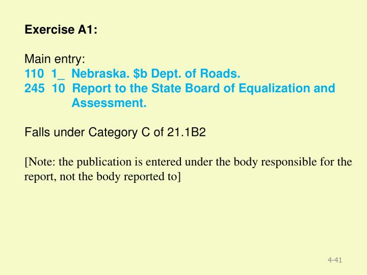 Exercise A1: