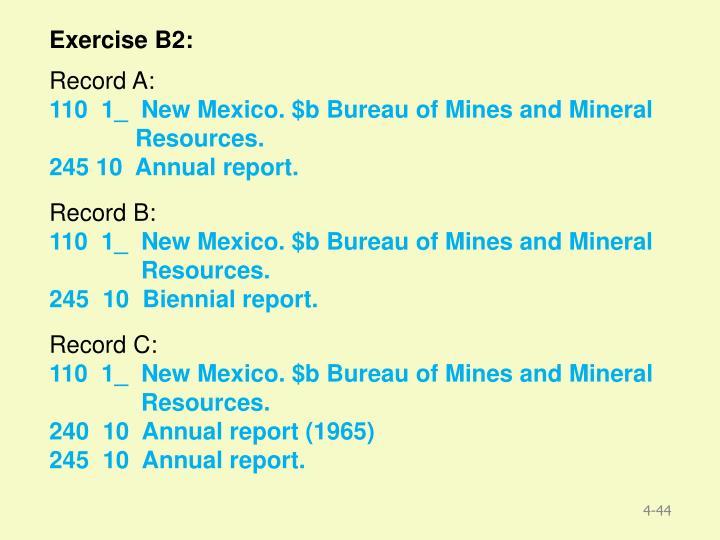 Exercise B2: