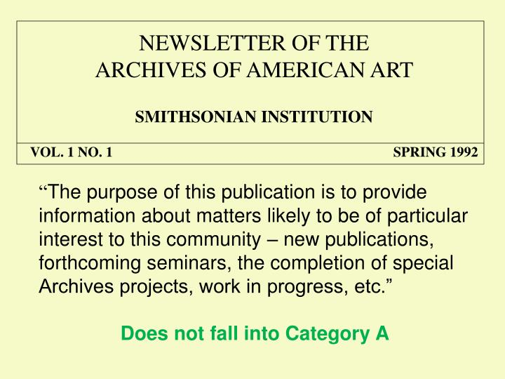 NEWSLETTER OF THE