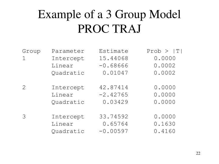 Example of a 3 Group Model