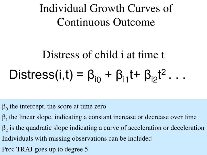 Individual Growth Curves of Continuous Outcome