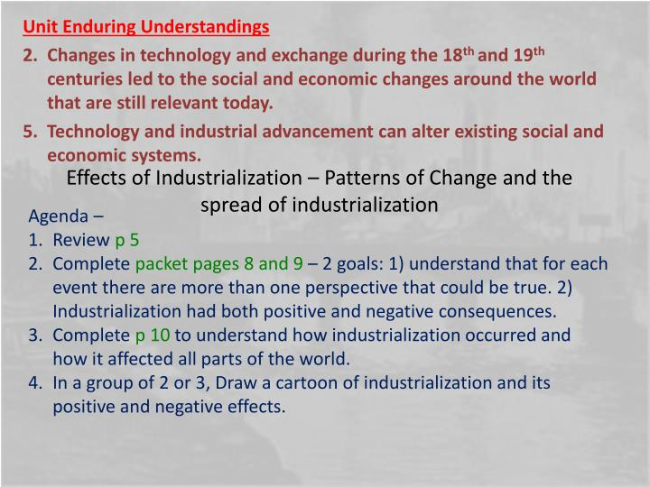 consequences of industrialization The major disadvantages of industrialization was the change in farming methods, culture of the farm town, and potential industrial collapse when the community has a single industry thanks to.