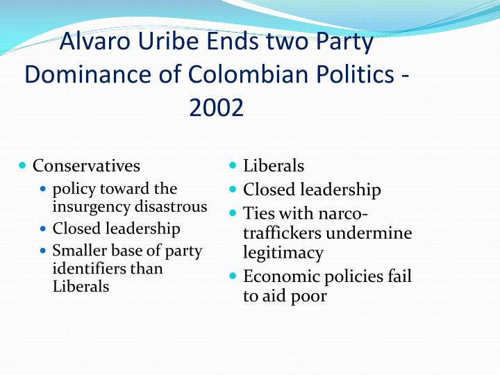 Alvaro Uribe Ends two Party Dominance of Colombian Politics - 2002