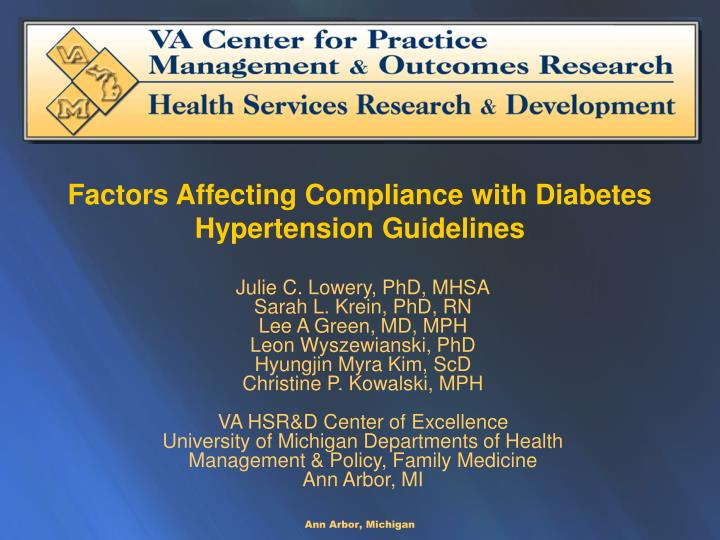 factors affecting compliance with diabetes hypertension guidelines n.