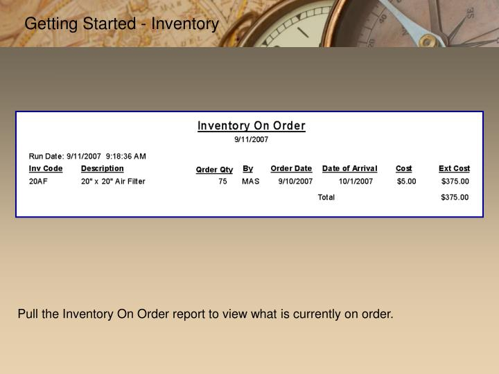 Getting Started - Inventory