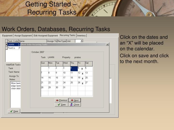 Getting Started – Recurring Tasks