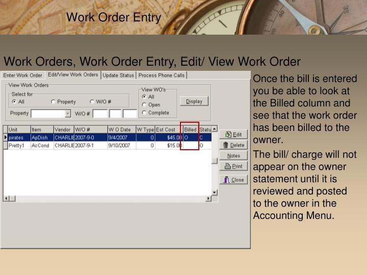 Work Order Entry