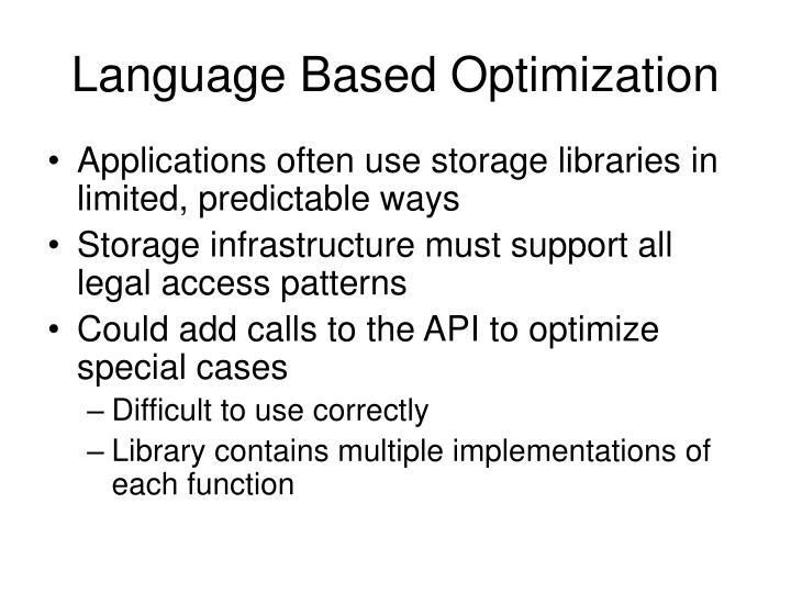 Language Based Optimization