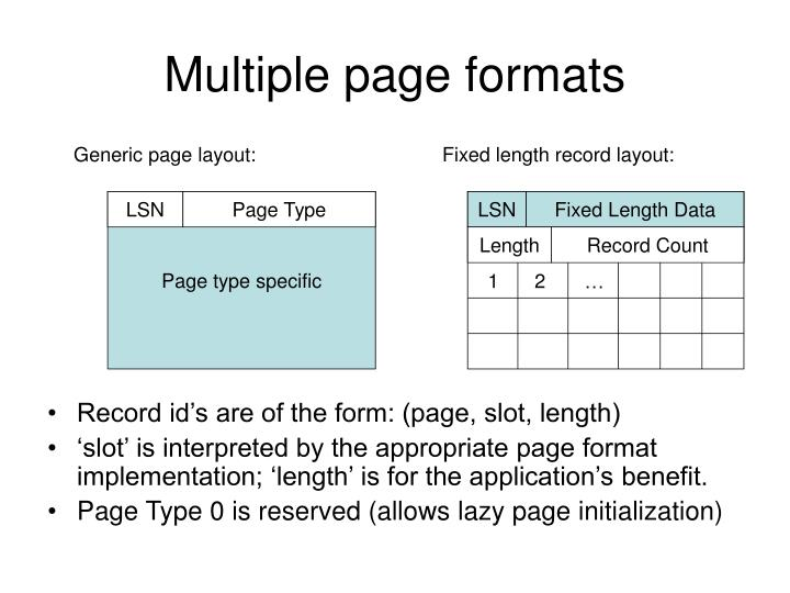 Generic page layout: