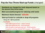 pay as you throw start up funds changed