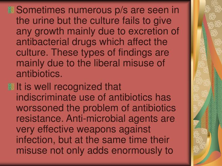 Sometimes numerous p/s are seen in the urine but the culture fails to give any growth mainly due to excretion of antibacterial drugs which affect the culture. These types of findings are mainly due to the liberal misuse of antibiotics.