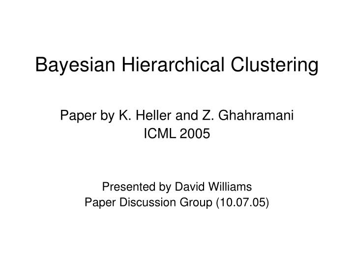 bayesian hierarchical clustering n.