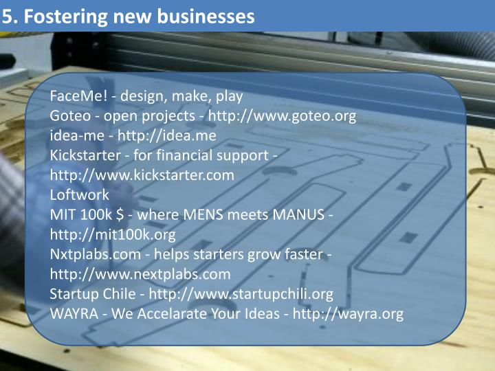 5. Fostering new businesses
