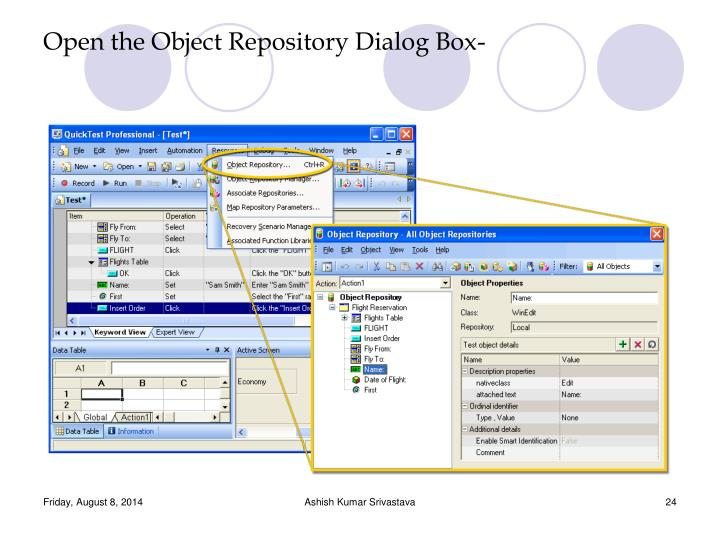 Open the Object Repository Dialog Box-