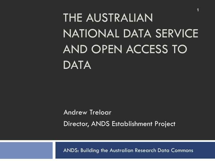 the australian national data service and open access to data n.
