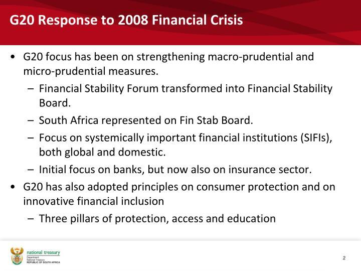 G20 response to 2008 financial crisis