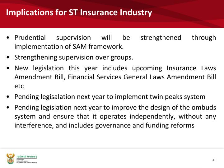 Implications for ST Insurance Industry