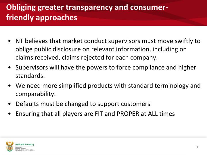 Obliging greater transparency and consumer-friendly approaches