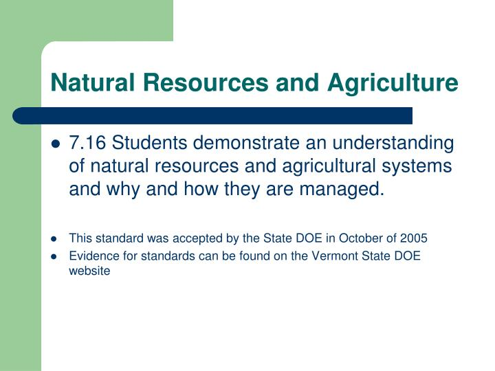 Natural Resources and Agriculture