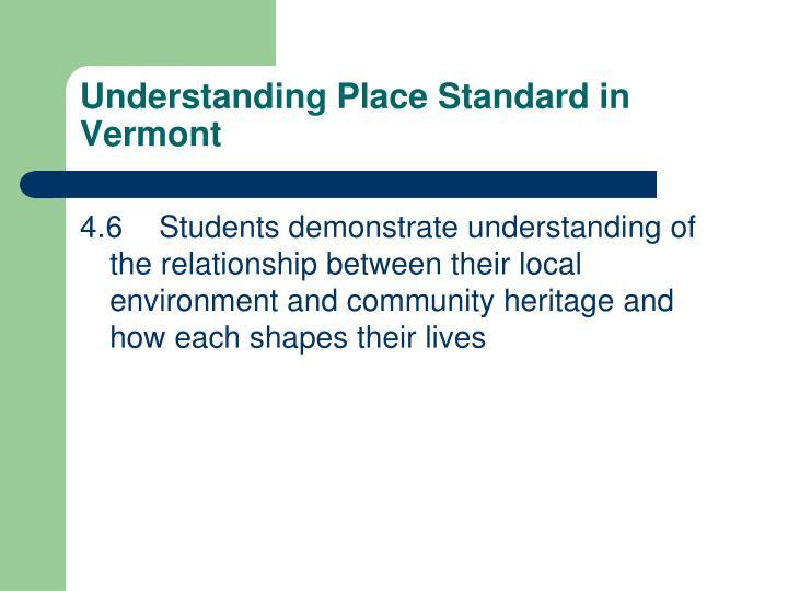 Understanding Place Standard in Vermont