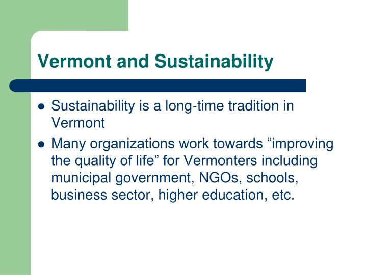 Vermont and sustainability
