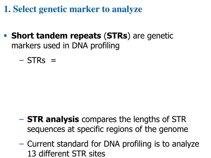 1. Select genetic marker to analyze