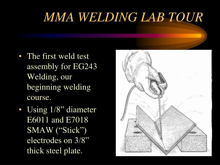 The first weld test assembly for EG243 Welding, our beginning welding course.
